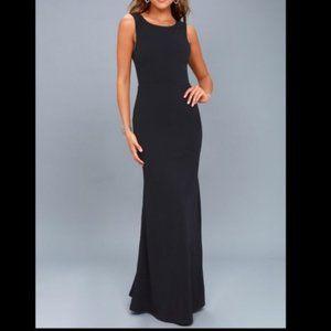 NWT LULUS Call My Name Navy Maxi Backless Dress